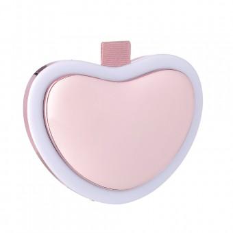 Зеркало подарочное с подсветкой, павербанк и подогревом для рук, сердце розовое (MP-L4-P)